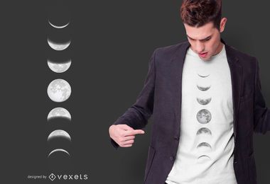Diseño de camiseta Moon Phases