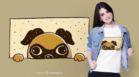 Diseño de camiseta Peeking Pug