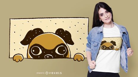 Peeking Pug T-shirt Design