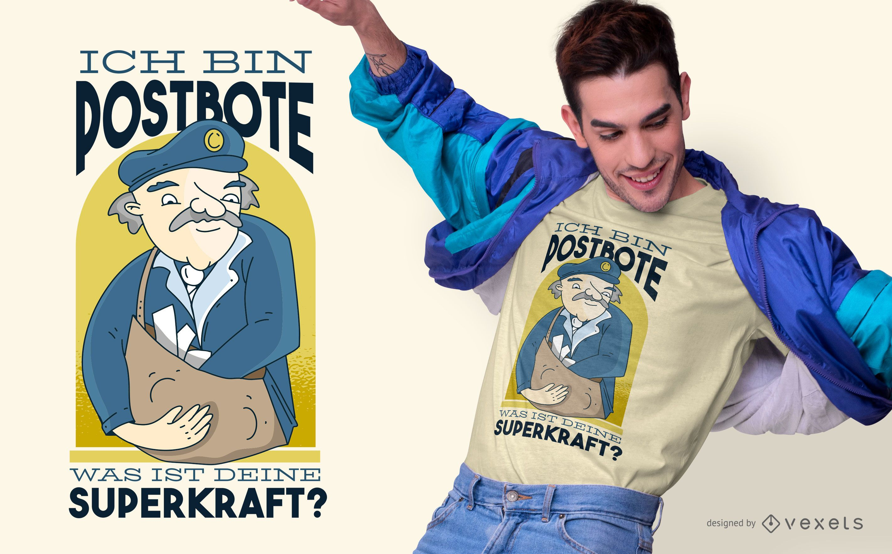Diseño de camiseta de cita alemana de cartero