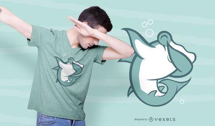 Design de t-shirt Dabbing de tubarão-martelo