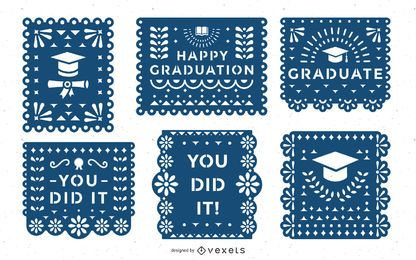 Graduation papel picado banner set