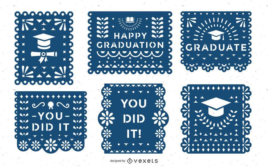 Graduation papel picado banner set