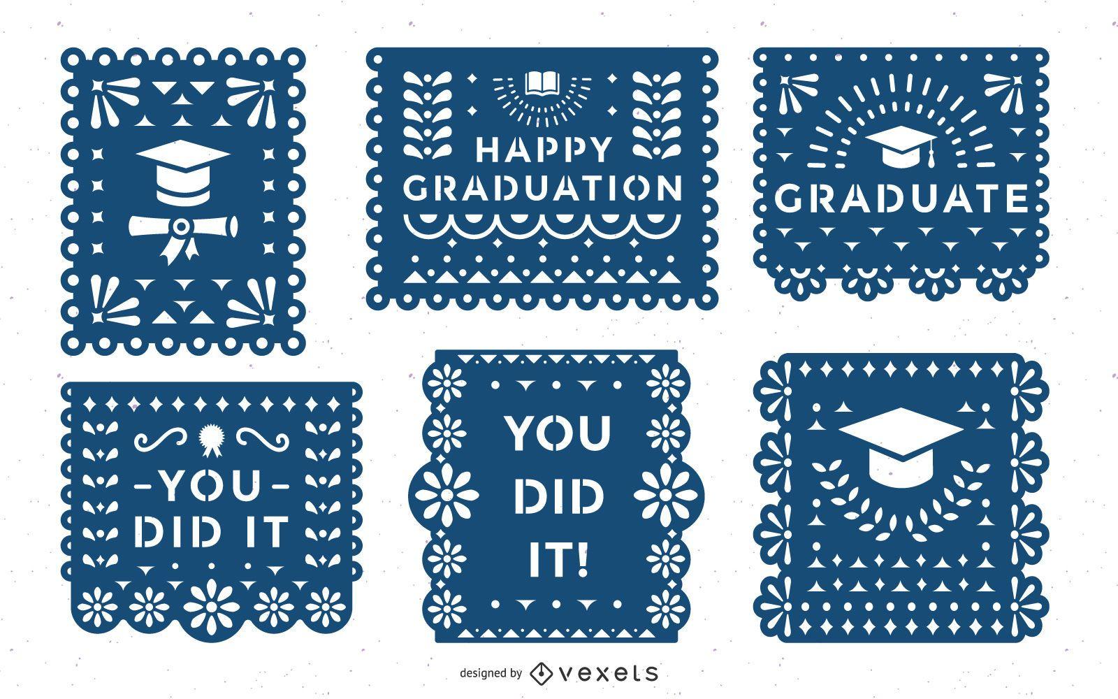Conjunto de banner de papel picado de graduación