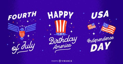 Independence day badge set