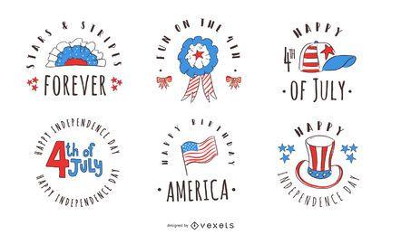 Pacote de distintivos de 4 de julho