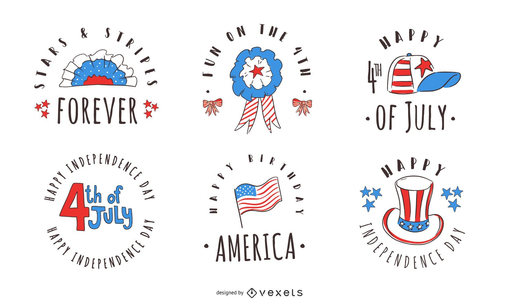 4th of July badge pack
