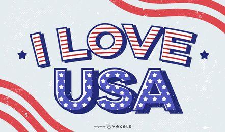 Eu amo o design de letras dos EUA