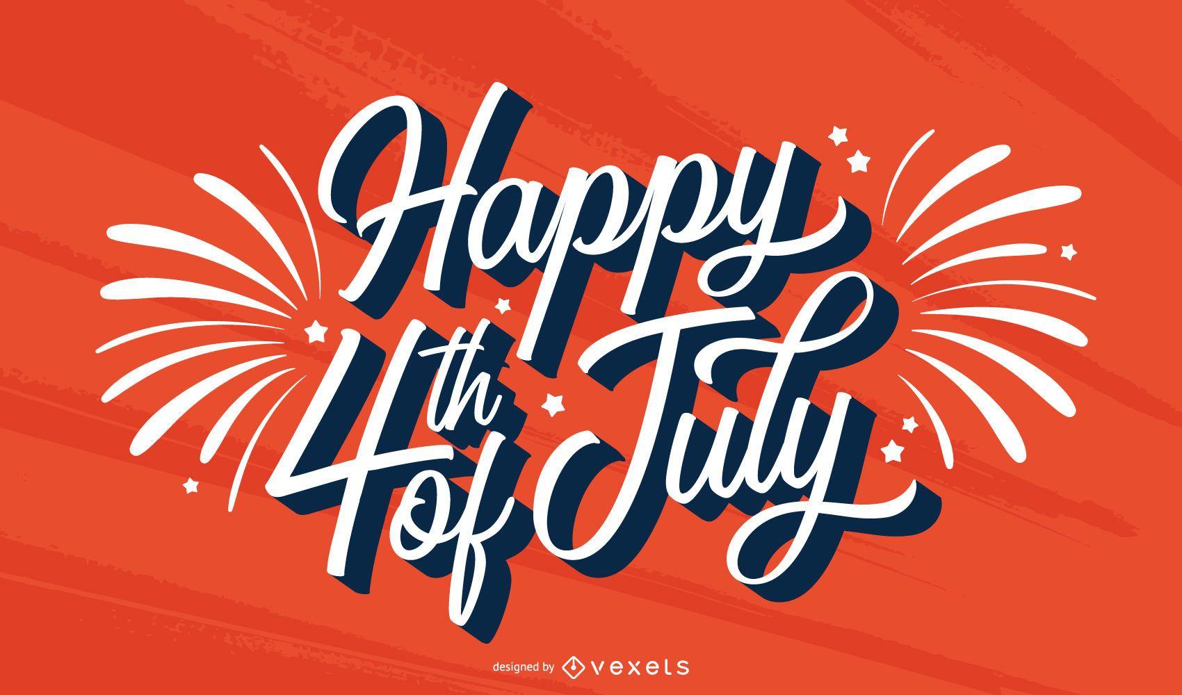 Feliz 4 de julio diseño de letras