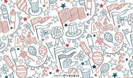 4 de julho doodle design padrão
