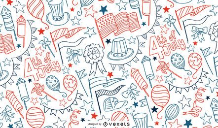 4th of July doodle pattern design