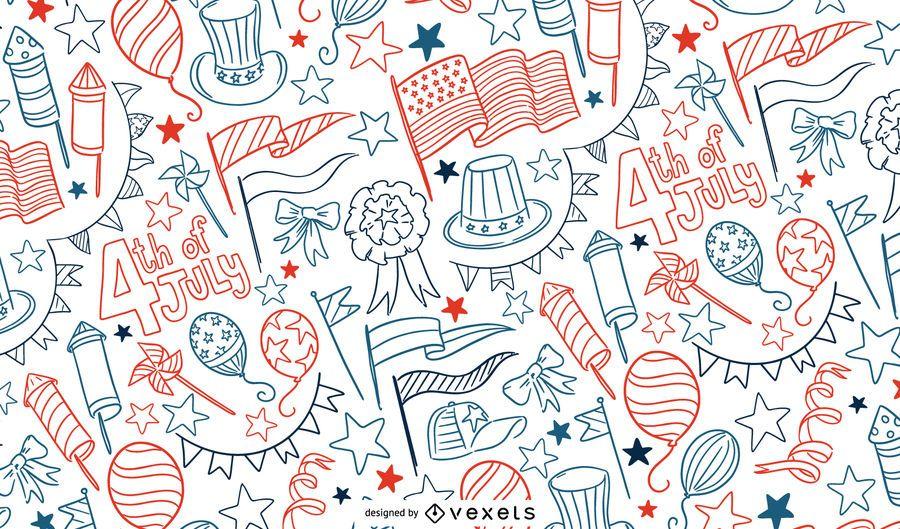 4th of July doodle pattern design