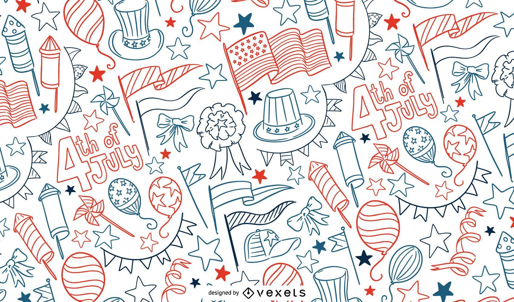 4 de julio diseño de patrón de doodle
