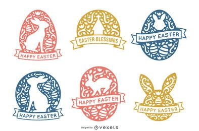 Paquete de huevos de Pascua estilo trazo escandinavo