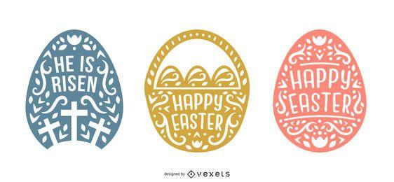 Pacote de design de estilo escandinavo de feliz Páscoa