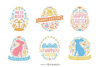 Paquete de diseño de Pascua colorido estilo escandinavo