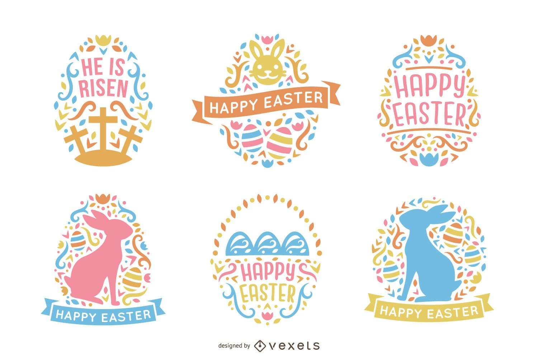 Colorido paquete de diseño de Pascua de estilo escandinavo