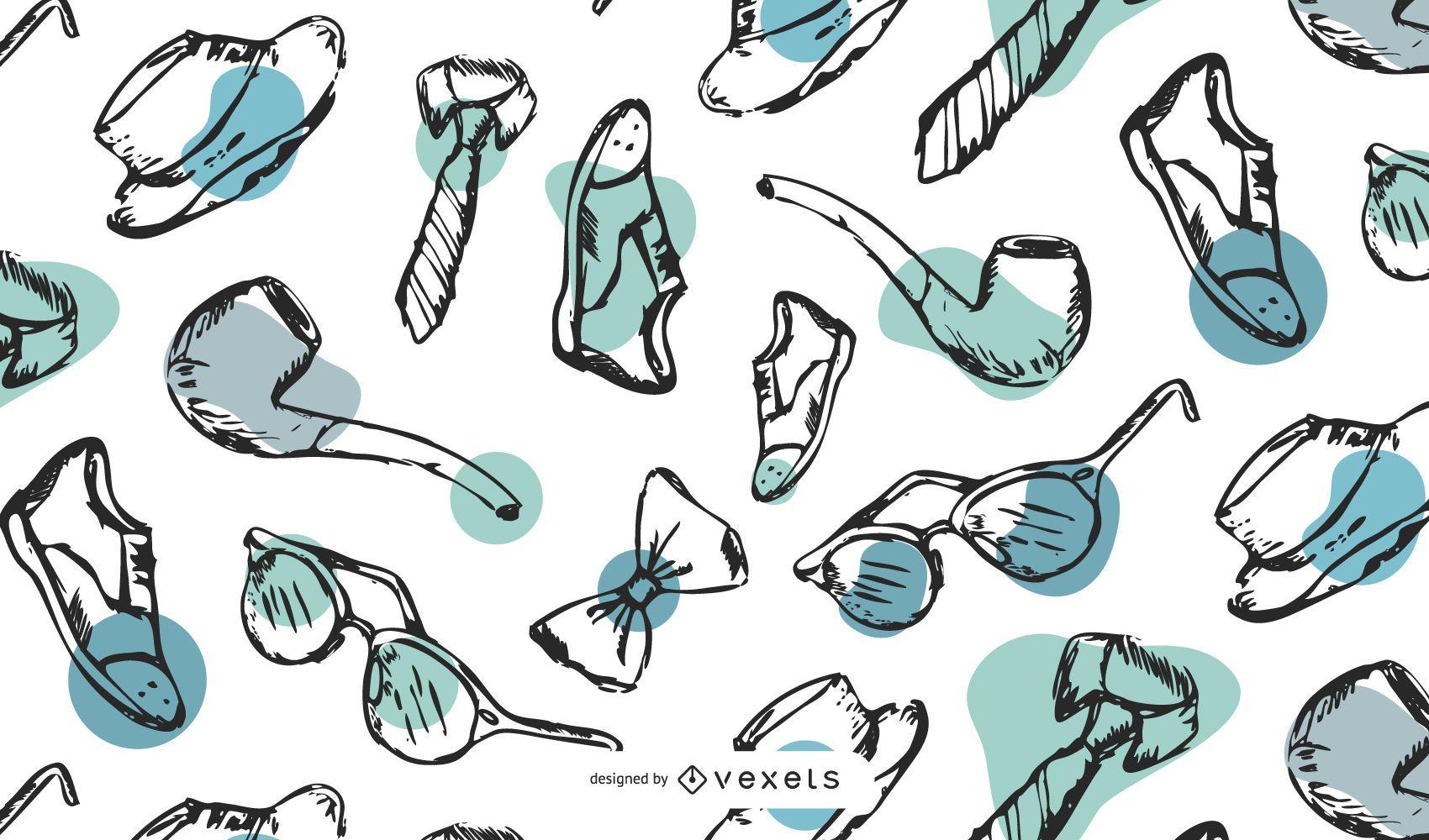 Dia dos pais desenho padrão desenhado à mão