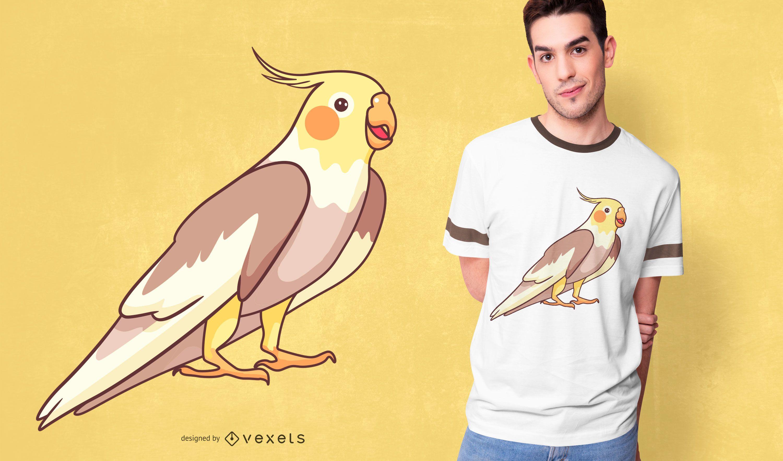 Diseño de camiseta lindo loro cockatiel