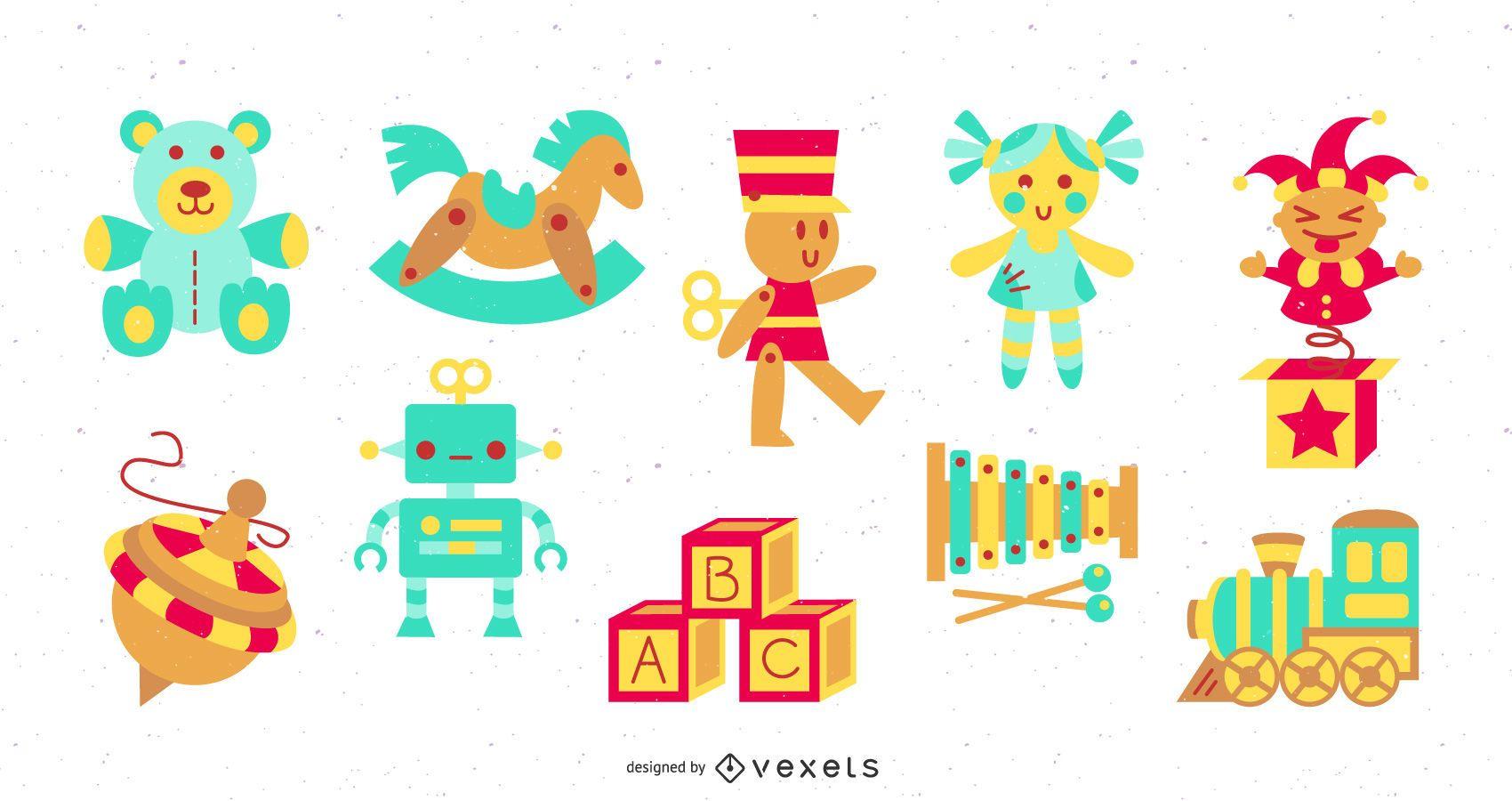 Toys colorful flat set