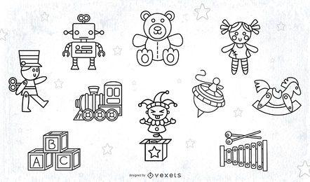 Conjunto de trazos de juguetes