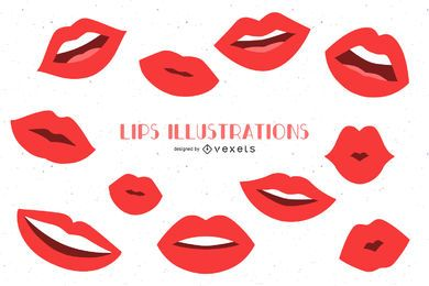 Lips illustrations flat set