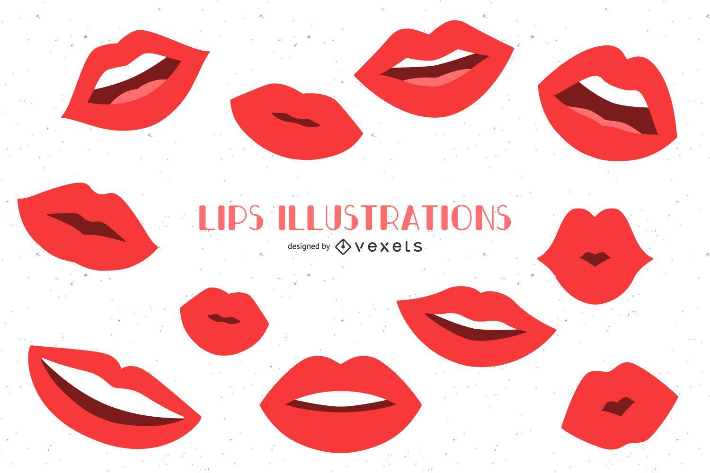 Conjunto plano de ilustraciones de labios