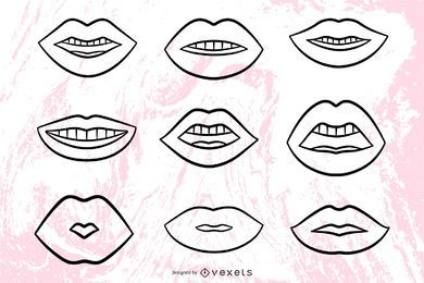 Lips illustrations stroke set
