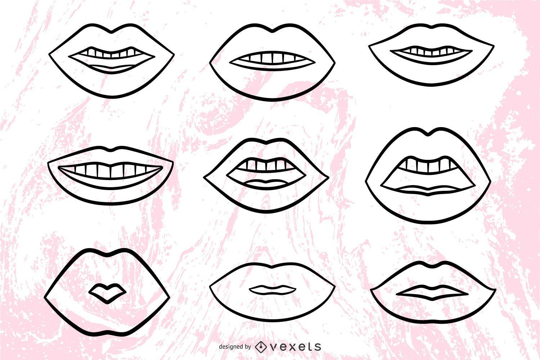 Lips illustrations stroke set