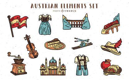 Elementos austríacos mão desenhado conjunto