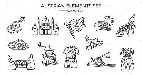 Conjunto de traços de elementos austríacos