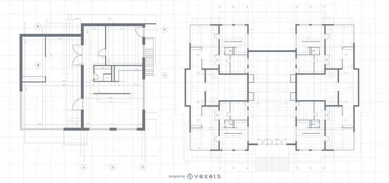 Architecture Mansion Blueprint Design