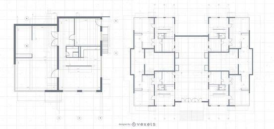 Diseño de planos de mansión de arquitectura