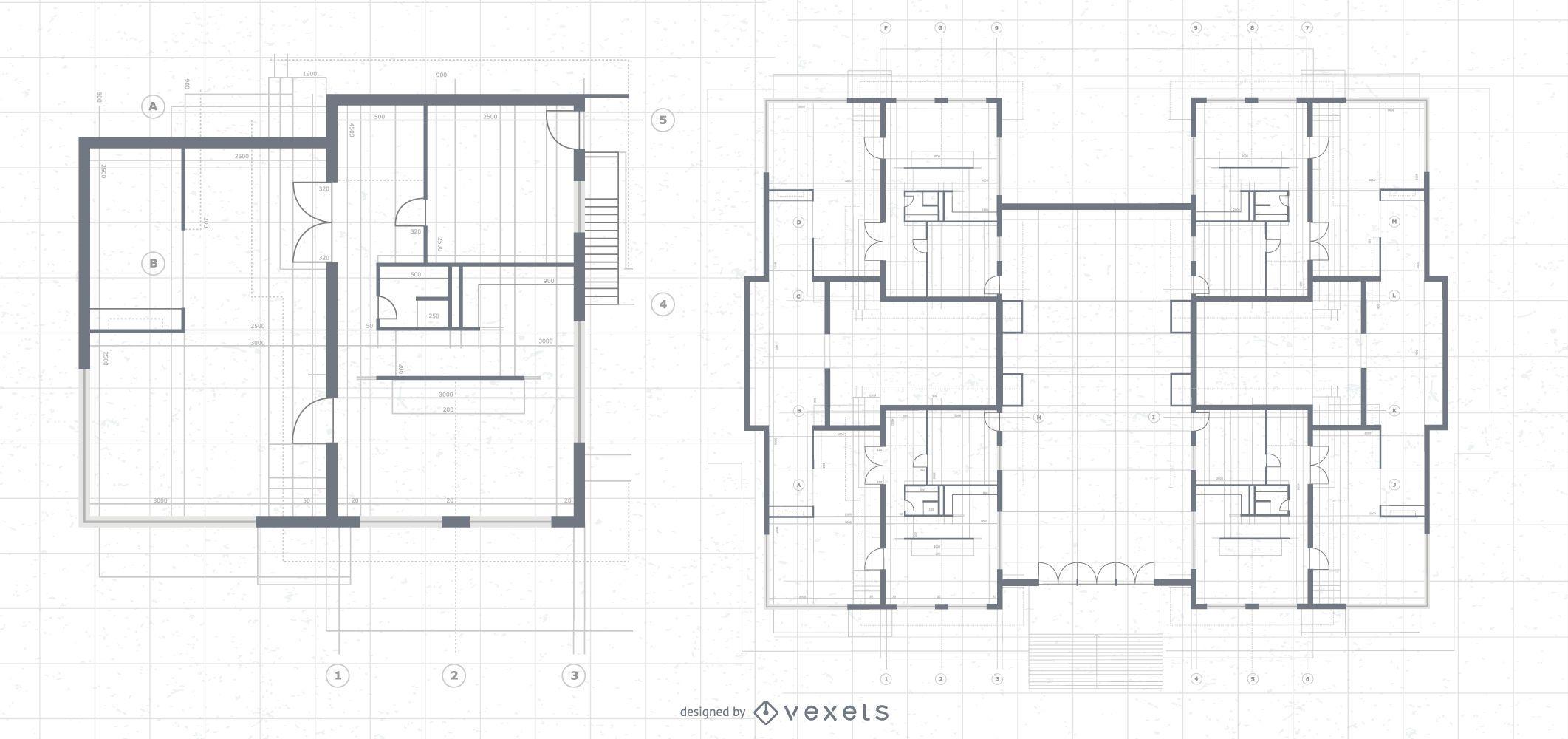 Projeto arquitetônico da planta da mansão