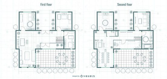 Architecture First and Upper Floor Blueprint Design