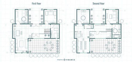Diseño de planos de primer y último piso de arquitectura