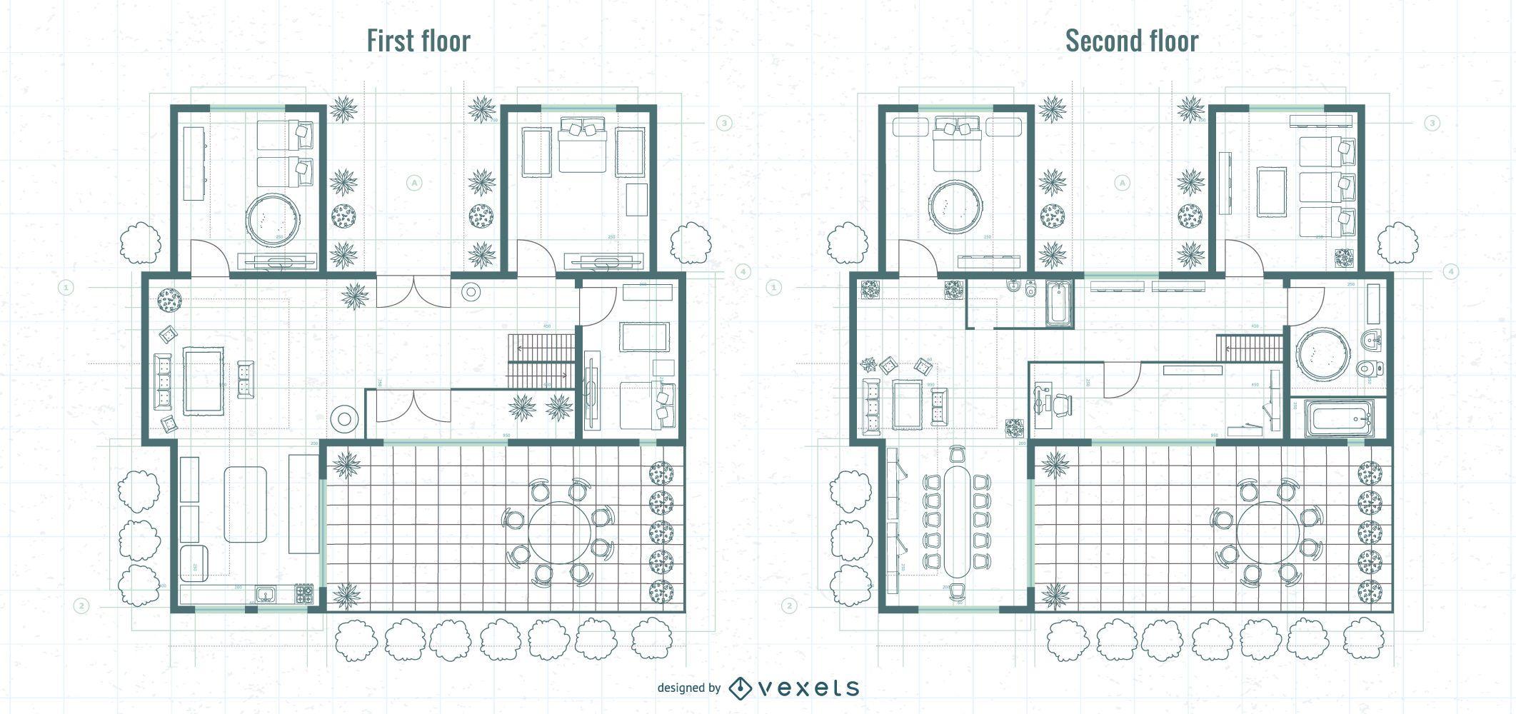 Projeto de planta do primeiro andar de arquitetura e andar superior