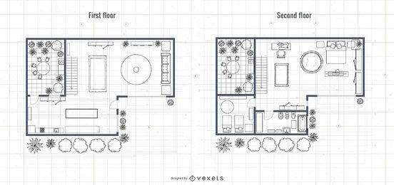 Diseño de planos de la casa de 2 pisos de arquitectura