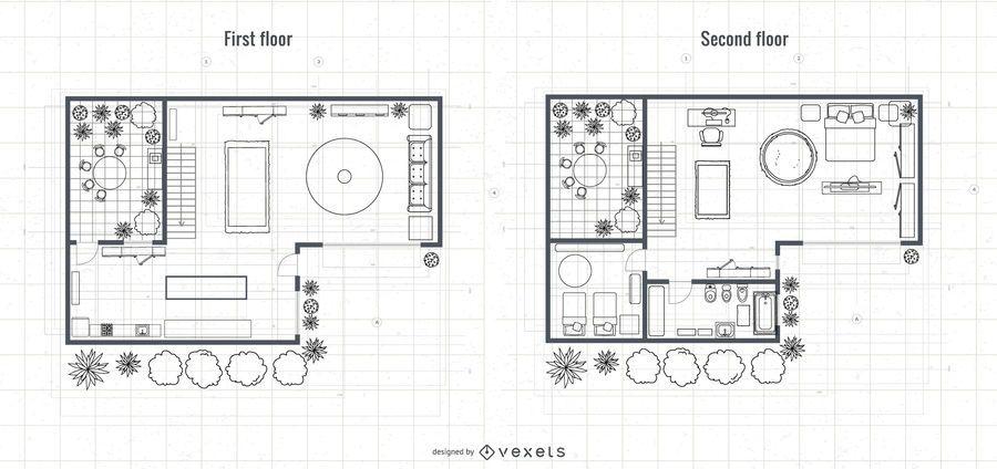 Architecture 2-story House Blueprint Design