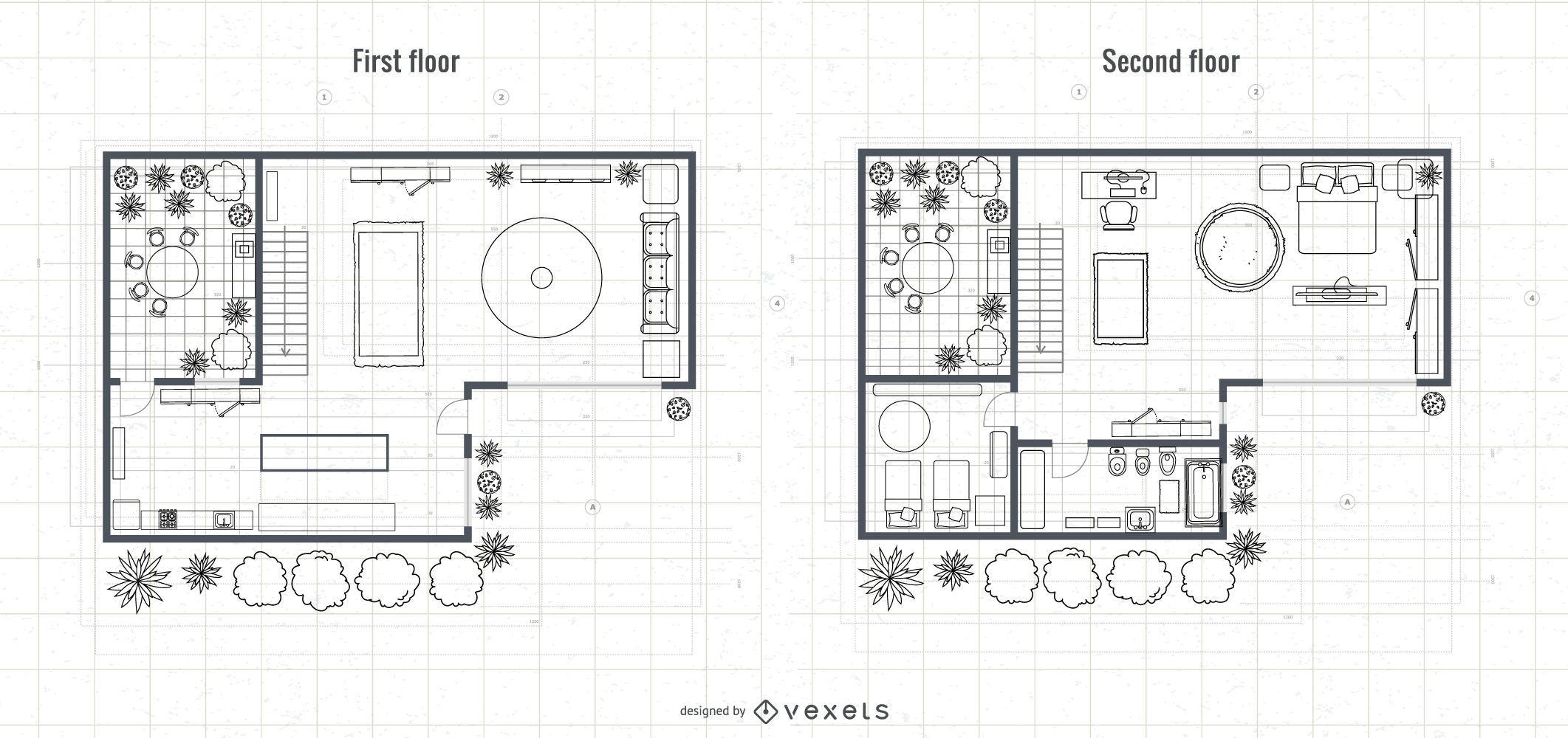 Arquitetura Projeto de planta de casa de 2 andares