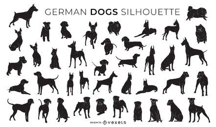 Colección de silueta de perros alemanes