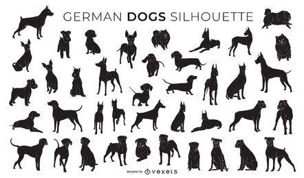 Colección de siluetas de perros alemanes