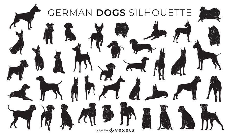 Coleção de silhueta de cães alemães