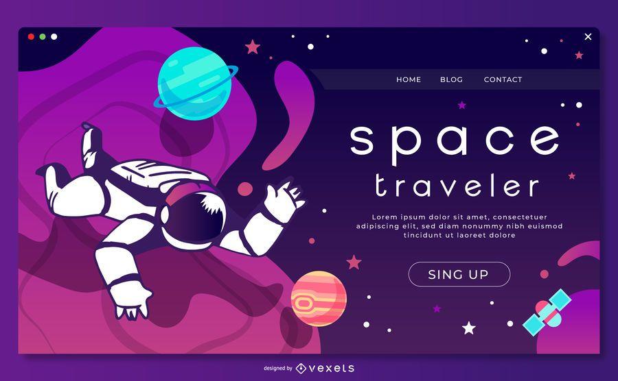Plantilla de página de aterrizaje de astronautas espaciales