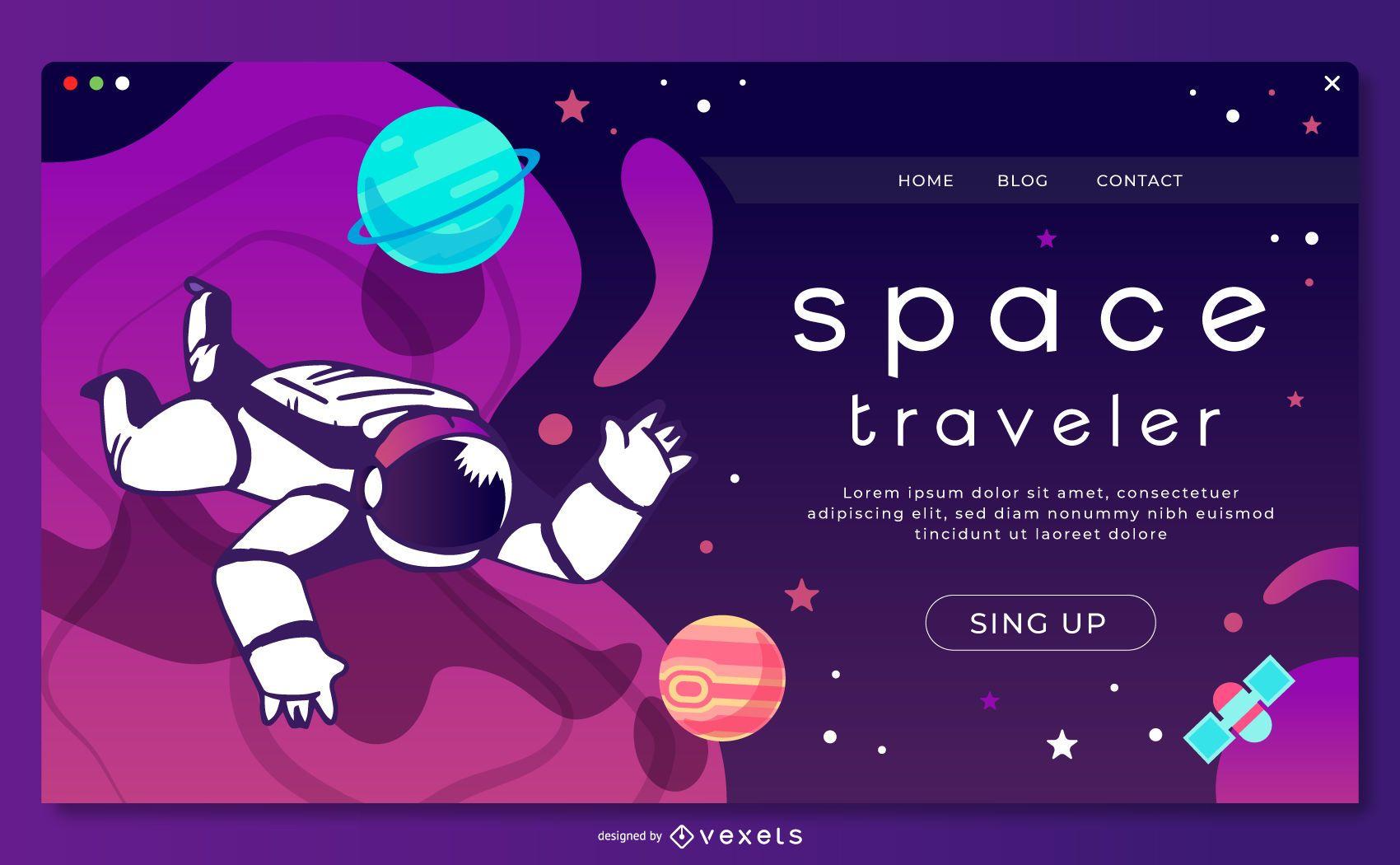 Plantilla de página de destino de astronauta espacial