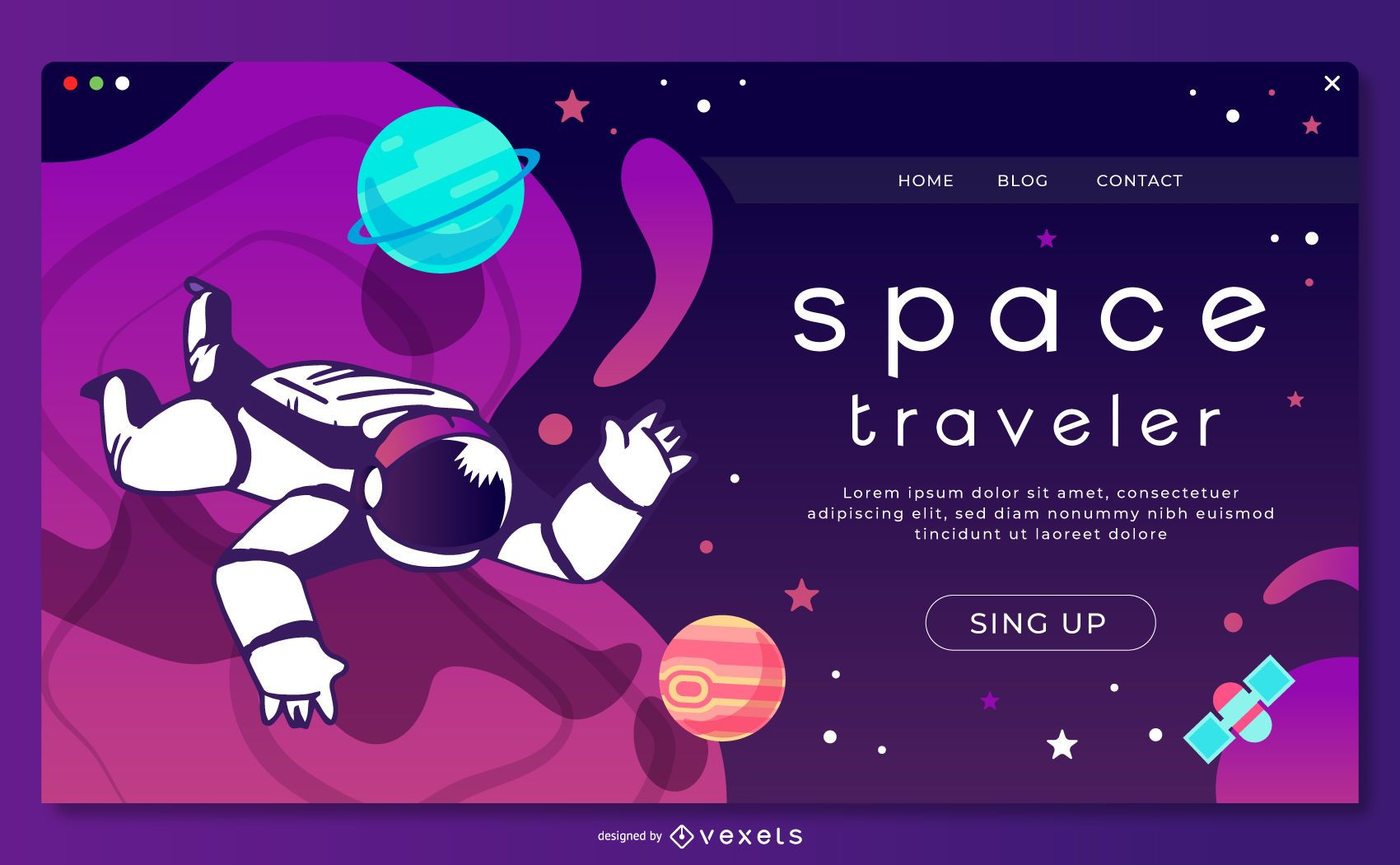 Space astronaut landing page template