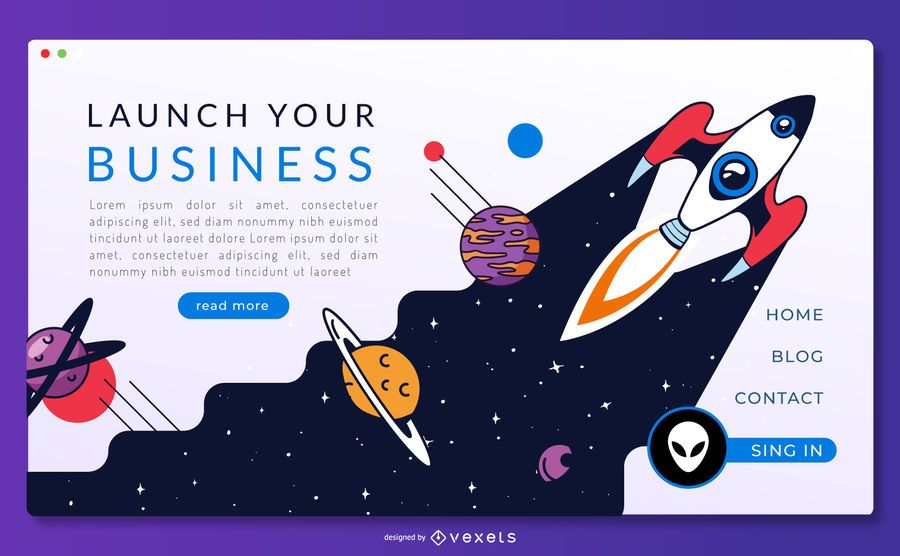 Space rocket landing page template