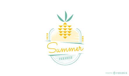Modelo de logotipo de abacaxi de verão