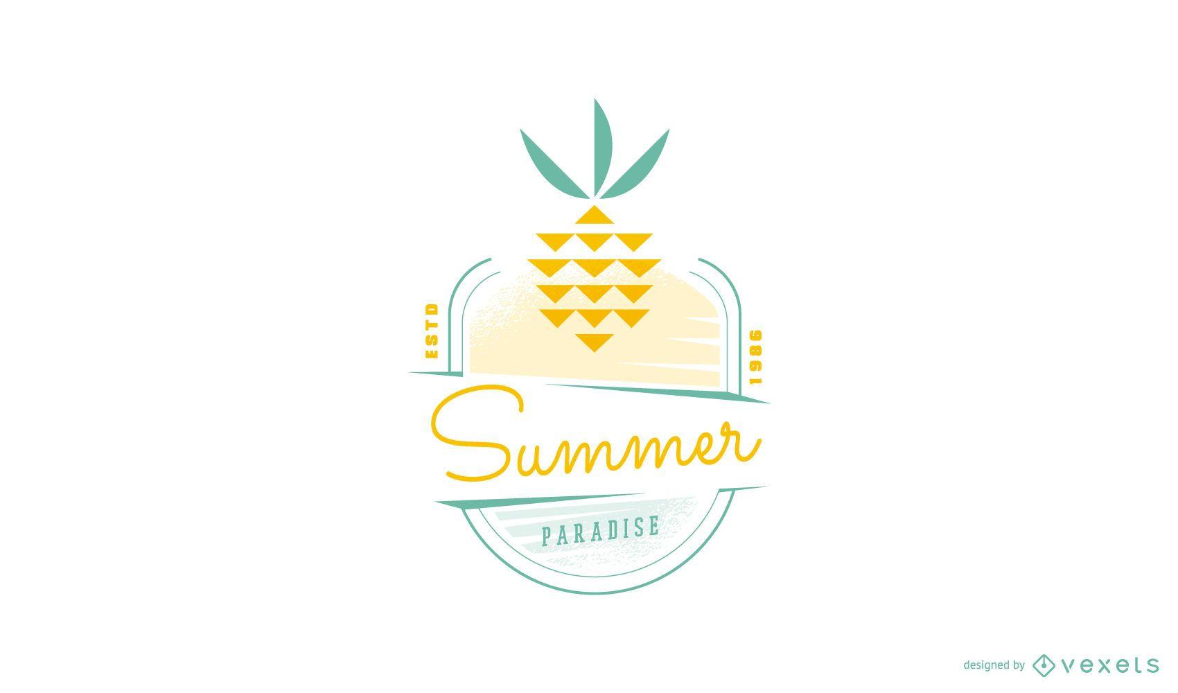 Summer pineapple logo template