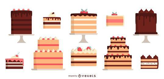 Paquete de diseño de pastel coloreado de diseño plano